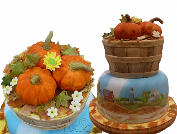 Bushel Basket Pumpkins And Farm Scene Cake
