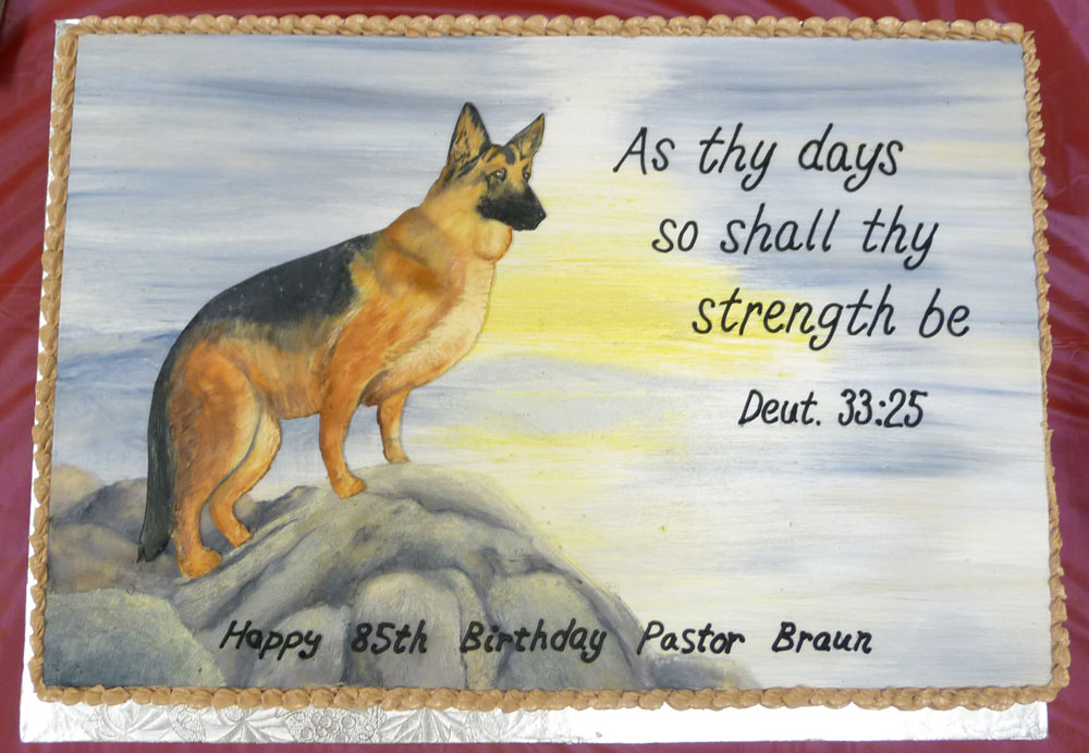German shepherd with bible verse Cake